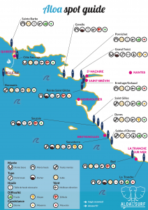 Carte des spots de surf de Loire Atlantique et Vendée